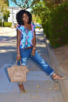 Style Pantry | Aztec Print Blouse + Ripped Boyfriend Jeans