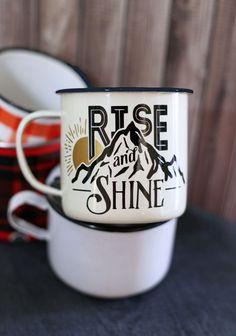 DIY rise and shine enamel coffee mug. This is amazing!!!
