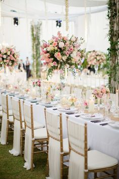 Romantic Thailand Destination Wedding is part of Wedding chairs - Photographed by Sandra Aberg, this stylish, elegant wedding at Point Yamu By Como was full of lush flowers and decor in shades of blush, gold, and cream Wedding Chair Decorations, Wedding Table Centerpieces, Wedding Chairs, Wedding Reception, Wedding Venues, Centrepieces, Wedding Chair Covers, Wedding Chair Sashes, Wedding Dinner