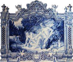 """""""O banho de Diana"""" - AZULEJO TRADICIONAL MANUAL - ATELIER ESCOLA ANTIGA"""