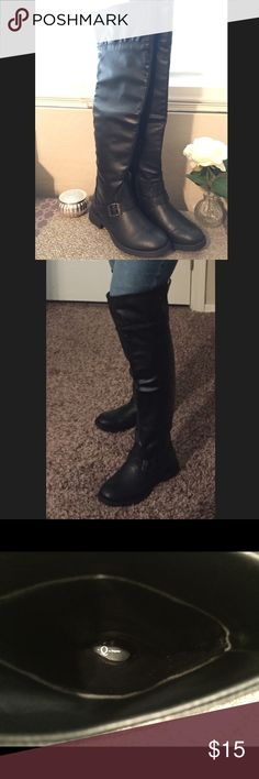 Black faux leather boots size 7 Black faux leather boots size 7. Never worn. Q by Esquire Shoes Over the Knee Boots