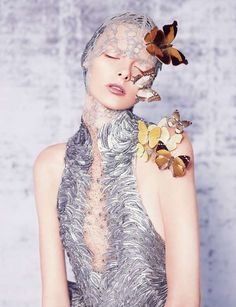 Bizarre Butterfly Beauty Looks - The Dazed & Confused June 2012 Editorial Stars Elza Luijendijk (GALLERY)