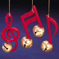 set of 3 music note bell ornaments music ornaments diy ornaments christmas music