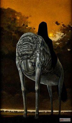 Sprawdź historię licytacji, zobacz jaka cena padła na aukcji Zdzisław BEKSIŃSKI, Postać na koniu, 1977.