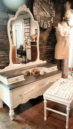Merry Christmas to me! Antique, refinished vanity. Visit Zoey's Uber Chic on FB