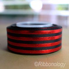 RED FOIL STRIPE RIBBON