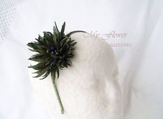 Statement Navy Green Fascinator,Olive Green Silk Chrysanthemum, OOAK flower headband, Green Flower Accessory,Gift Unique Handmade,Silk Aster