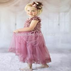 [ 25% OFF ] Vintage Dusty Rose Children Girl Dresses Flower Girl Dresses For Wedding Girl Pageant Party Dress Kid Clothes