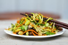 """Chow Mein    This version of chow mein uses carrot and zucchini as """"noodles"""", and you can use just about any vegetable that can be Read more..."""