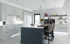 A wonderful walnut butchers block breakfast bar. #Kitchen #Kitchendesign #Interiors #Design