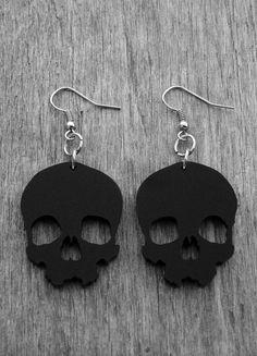 Black Skull Earrings Black Skull Jewelry Gothic Goth Heavy Metal Punk Rock and…
