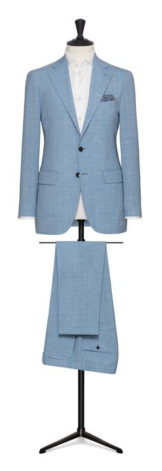 sky blue made to measure suit Made To Measure Suits, Black Tuxedo, Ideal Fit, Light Blue, Trousers, The Incredibles, Blazer, Jackets, Om