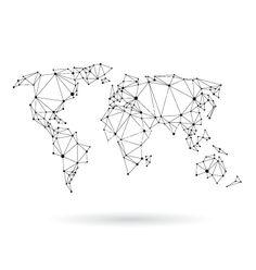 Geometric world map design silhouette vector