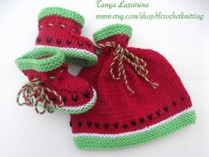 Watermelon Baby Hat and Booties Set. 36 by tlcrochetknitting, $30.00