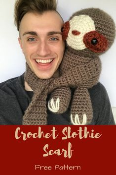 Create your own DIY Slothie Scarf made form this free photo tutorial crochet pattern. Half amigurumi and half wearable, fun delight!