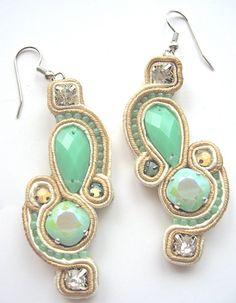 £25 mint bridal soutache earrigs by BlackMarketJewels #soutache #earrings #jewellery #jewelry #handmade #embroidery #pastel #mint #blackmarketjewels