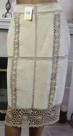 hem edge - idea for beige cardie Crochet Skirts, Crochet Fabric, Freeform Crochet, Crochet Lace, Crochet Woman, Love Crochet, Irish Crochet, Sewing Clothes, Crochet Clothes
