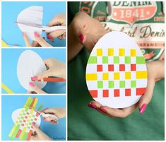 Easter Egg Paper Weaving Craft for Kids to Make art weaving Easter Egg Paper Weaving - Easy Peasy and Fun Easter Arts And Crafts, Easter Egg Crafts, Paper Crafts For Kids, Crafts For Kids To Make, Art For Kids, Fun Crafts, Envelopes Decorados, Weaving For Kids, Construction Paper Crafts