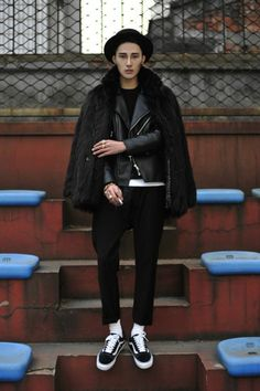 B&W outfit with fur coat