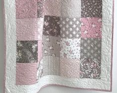 Patchwork Baby Quilt, Baby Girl Quilt, Pink and White Crib Quilt, Baby Shower Gift Baby Patchwork Quilt, Baby Girl Quilts, Girls Quilts, Owl Quilts, Quilt Baby, Quilt Batting, Rag Quilt, Baby Quilt Patterns, Owl Patterns