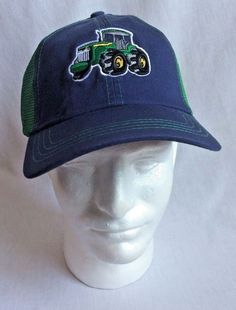 Mens Farm Tractor Ball Cap Hat Green Blue Net Strapback Adjustable Cotton  Blend  Unbranded   2f064fcd2208