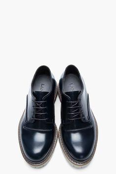 LANVIN Black Snakeskin-trimmed leather Transparent-Sole Derbys