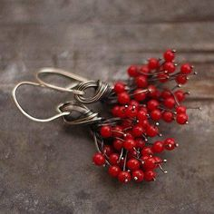 Red Coral Cluster Earrings Oxidized Silver Flower earrings
