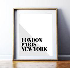 "Printable Art City Typography ""London Paris New York"" Minimalist Inspirational Travel Poster Black and White Typography Digital Download"
