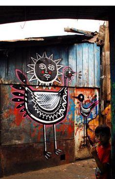 Art ideas, black/white/red  Street art | Mural by Neuzz [aka Miguel Mejía]