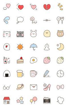 Simple Yurukawaii emoji – LINE Emoticón Cute Small Drawings, Mini Drawings, Kawaii Drawings, Doodle Drawings, Bullet Journal Writing, Bullet Journal Ideas Pages, Bullet Journal Inspiration, Daily Journal, Simple Doodles