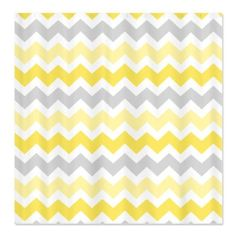 CafePress Yellow Grey Chevron Shower Curtain - Standard White