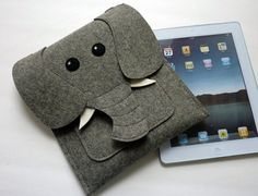 Kind of pricey, but SO cute!!! Elephant New iPad and iPad 2 sleeve Gray felt MADE by BoutiqueID, $69.00