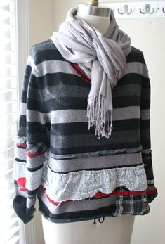 Bohemian Clothing / Recycled Sweater / von BreatheAgainClothing - Clothes for Diy And Crafts Sweaters And Jeans, Wool Sweaters, Recycled Sweaters, Eco Clothing, Bohemian Clothing, Sweater Refashion, Altered Couture, Wool Skirts, Breathe