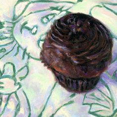 "KITTY LOVES CHOCOLATE- ©SUSAN RODEN - 4 1/2"" x 4 1/2"" pastel - SOLD / Private Collector"