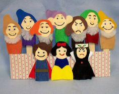 Snow White and the Seven Dwarfs Felt Finger Puppets by littlefox71, $22.50