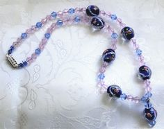 Vintage Glass Bead Necklace Venetian Art Pink Roses Blue Rope for Beading Crafts #unsigneddesigner #Beaded