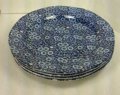 """4 Crownford China Calico Blue 10-1/2"""" Dinner Plates #CrownfordChina"""