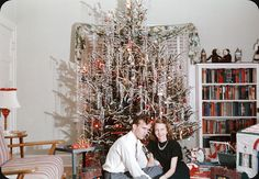 Vintage Christmas, They maybe over did it with that tinsel! Old Time Christmas, Ghost Of Christmas Past, 1950s Christmas, Old Fashioned Christmas, Merry Little Christmas, White Christmas, Christmas Holidays, Christmas Trees, Pagan Christmas