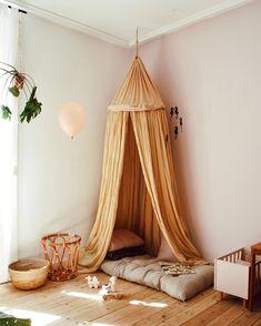 Mustard coloured canopy for kids room play corner Baby Bedroom, Girls Bedroom, Bedroom Decor, Room Baby, Playroom Decor, Girl Nursery, Play Corner, Princess Room, Little Girl Rooms