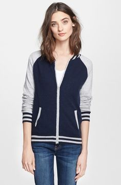 autumn cashmere Cashmere Baseball Jacket available at #Nordstrom