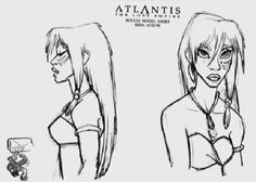 Living Lines Library: Atlantis - The Lost Empire - Characters: Model Sheets & Production Drawings Atlantis Disney, Kida Atlantis, Disney Kunst, Arte Disney, Disney Art, Character Design Animation, Character Design References, Character Art, Character Development