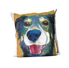 Designer Dog Art Pillow Cover featuring Dog Art by AbeesArtStudio, $48.00
