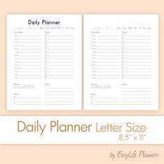Daily Planner Printable  X A Pdf Filofax Binder Inserts