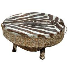African Drum Table w/ Zebra Hide Top : Lot 2015