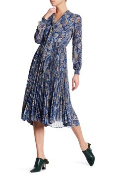 Cayl Tie-Neck Paisley Dress