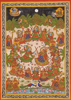 Rasa: The Cosmic Dance of Krishna, Folk Art Phad Painting on Cotton Madhubani Art, Madhubani Painting, Pichwai Paintings, Indian Paintings, Phad Painting, Rajasthani Painting, Kerala Mural Painting, Traditional Paintings, Traditional Art