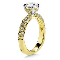 - Diamond Engagement Ring with Side Stones in Yellow Gold with Platinum Head ct. Classic Engagement Rings, Engagement Ring Styles, Diamond Engagement Rings, Engagement Ring Jewelers, Ring Settings, Fashion Rings, Halo, Stones, Yellow
