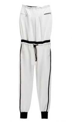 White Strapless Mid Waist Loose Cotton Jumpsuit