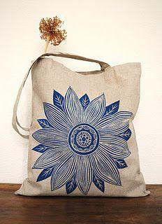 Linen hand printed tote bag