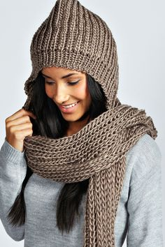 Louise Hooded Knitted Scarf